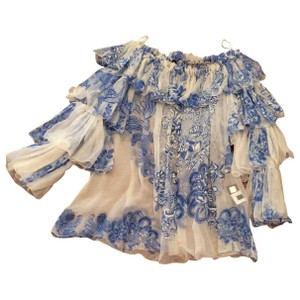 Roberto Cavalli Cavalli Silk Peasant Semi Sheer Top Blue