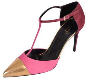 Gucci Colorblock T Strap Pink and Gold Pumps