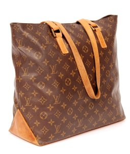 Louis Vuitton Cabas Mezzo Leather Monogram Canvas Tote in Brown
