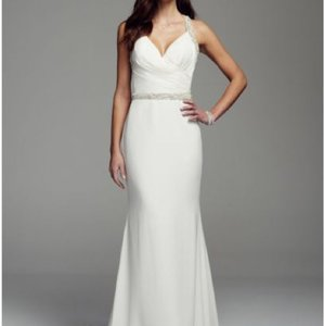 David's Bridal Halter Beaded Straps Sheath Wedding Dress Wedding Dress