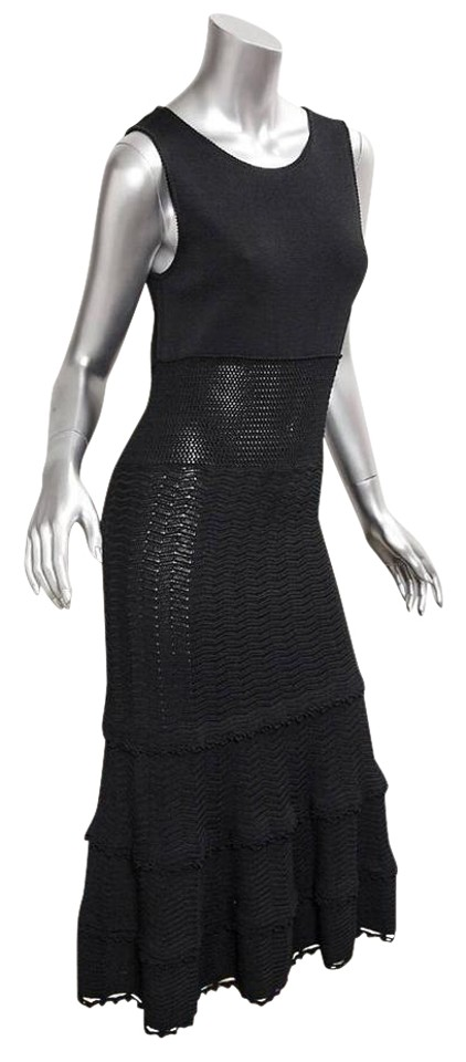 Chanel Black 05p Womens Knit Sleeveless Button Mid Calf Length Long