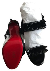 Christian Louboutin Spike Open Toe Sandal Black Patent Leather Pumps