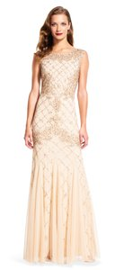 Adrianna Papell Champagne Fully Beaded Sleeveless Godet Gown Dress