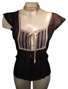 Cynthia Steffe Silk Lace Up Chiffon Romantic Top black/ivory