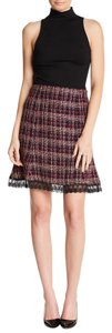 Nanette Lepore Lace Hem Tweed Tweed Mini Mini Skirt dark magenta multi