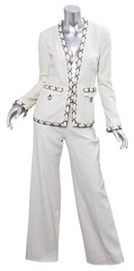 Chanel 02P White Silk Weave Brass Ring Detail Pant Suit Outfit