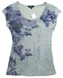 Express Floral Graphic Print T Shirt Grey