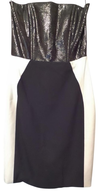 Item - Black & Off-white W New W/ Tag Patent Leather Color Panel Short Cocktail Dress Size 6 (S)