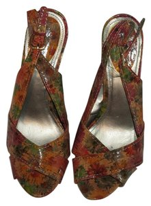 Kelly & Katie Stiletto Slingback Peep Toe Multi Color/ Cork Sandals