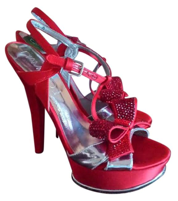 Item - Satin Red with Silver Leather Diamond Collection Wedding Swarovski Bow Heels Pumps Size US 5.5 Narrow (Aa, N)