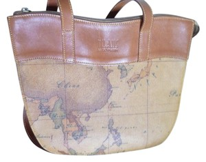 Alviero Martini Leather Geographic Italy Shoulder Bag