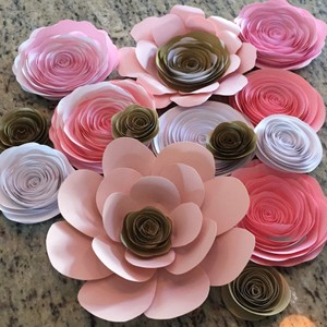 Pink Gold Paper Flowers