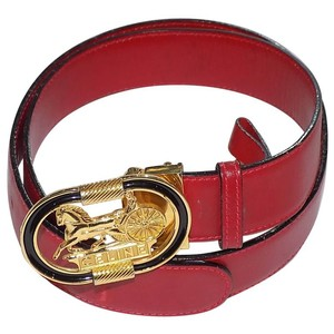Céline Celine Vintage red Belt with oval horse carriage buckle