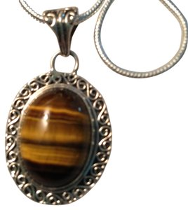 Other Genuine Tiger's Eye Oval Pendant in 925 Sterling Silver on Black Leather Cord 18