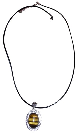 """Other Genuine Tiger's Eye Oval Pendant in 925 Sterling Silver on Black Leather Cord 18"""""""