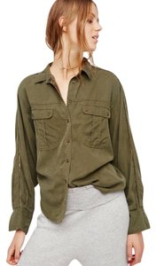 Free People Button Down Shirt Moss Green