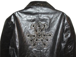Pamela McCoy Plus-size 2x Embellished Leather Leather Leather Jacket