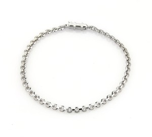 Cartier 18k White Gold 2 Interlaced Long Curved Bar Chain Link Bracelet