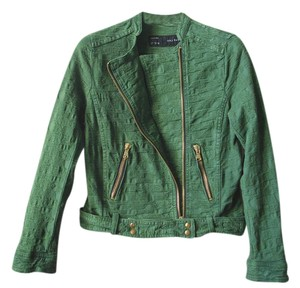 Zara Moto Military Cropped Moto Cropped Motorcycle Jacket