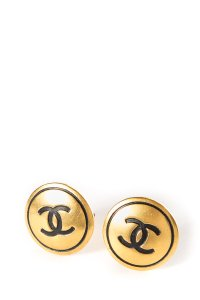 Chanel Chanel Vintage Gold-Tone CC Clip-On Earrings