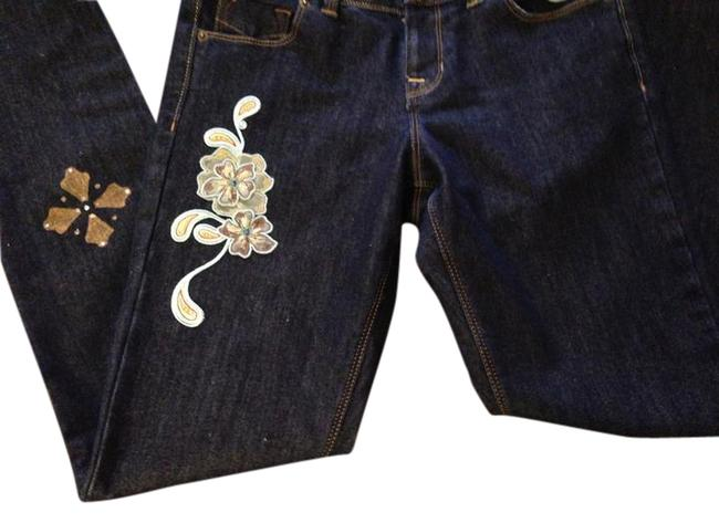Other Patches Embellished Hand Painted Custom Size 2 Straight Leg Jeans-Dark Rinse
