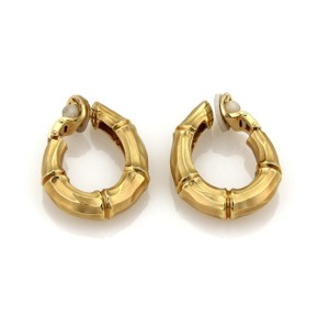 Tiffany & Co. 18k Yellow Gold Bamboo Design Oval Clip On Hoop Earrings