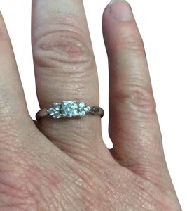 Other Stamped 14K white gold ring with high quality cz's