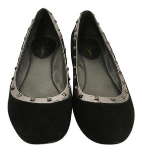 Cole Haan Foot Black suede leather padded leather insoles lining silver border with pewter metal grommets NikeAir Flats