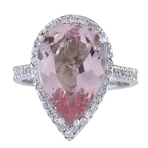Fashion Strada 6.82CTW Natural Morganite And Diamond Ring In 14K White Gold