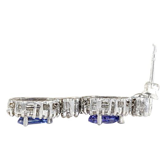 Fashion Strada 3.16 Carat Natural Tanzanite 14K White Gold Diamond Earrings