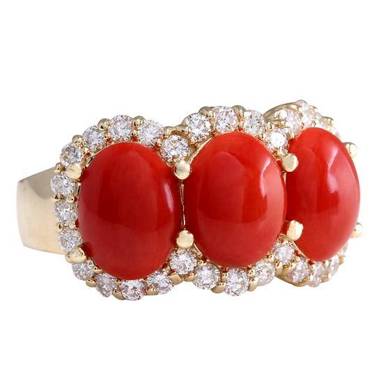 Fashion Strada 5.30CTW Natural Red Coral And Diamond Ring 14K Solid Yellow Gold