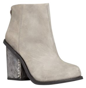 Jeffrey Campbell Leather Metal Heel Grey Boots