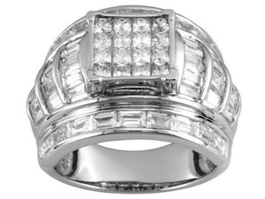 Elle Cross 6.20cttw Princess & Baguette Diamond Simulant Platinum on Silver Ring