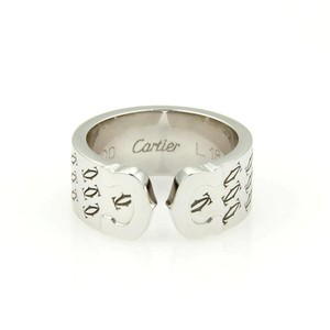 Cartier Double C 18k White Gold Limited Edition Logo 8mm Band Ring Size 5.75