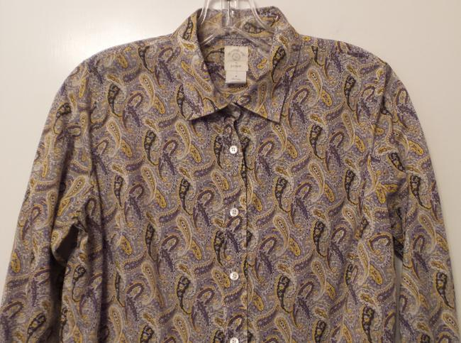 J.Crew Fitted Cotton Paisley Lightweight Small Button Down Shirt Yellow, grey, black, white