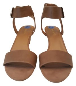 Nine West Leather Ankle Strap Heel Tan Wedges