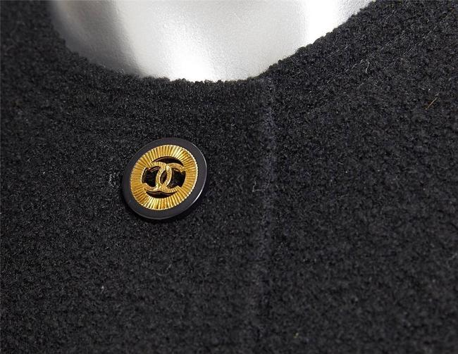 Chanel Black Wool Silk Gold CC Logo Vintage Skirt Suit Outfit