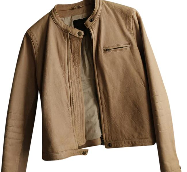 Item - Light Beige Classic Butter-soft Leather Motto Jacket Size 10 (M)
