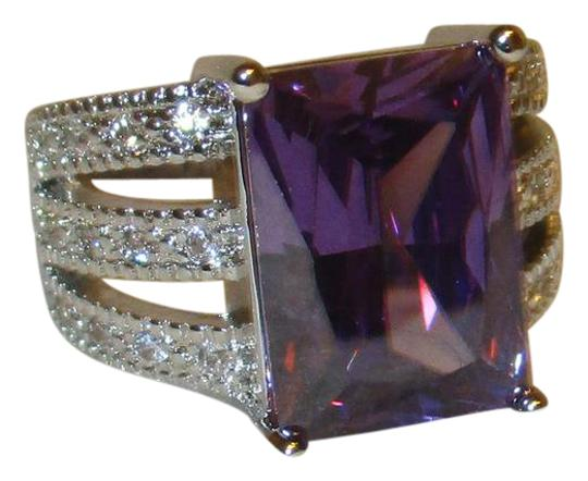 Preload https://img-static.tradesy.com/item/21200035/purple-sterling-silver-4-carat-emerald-cut-amethyst-white-topaz-accents-8-ring-0-1-540-540.jpg