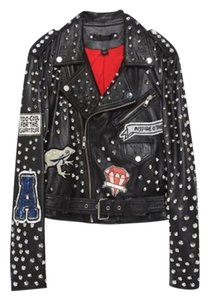 Zara Studs Patches Tiger Studded Biker Leather Jacket