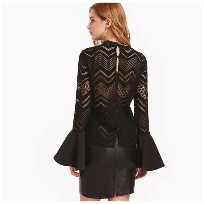 Other Dramatic Bell Sleeve Cut-out Top Black