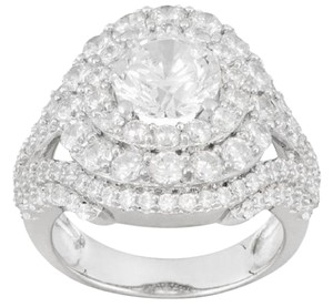 Elle Cross 7.50ctw Round Sim. Diamond Platinum Plated Sterling Silver Ring