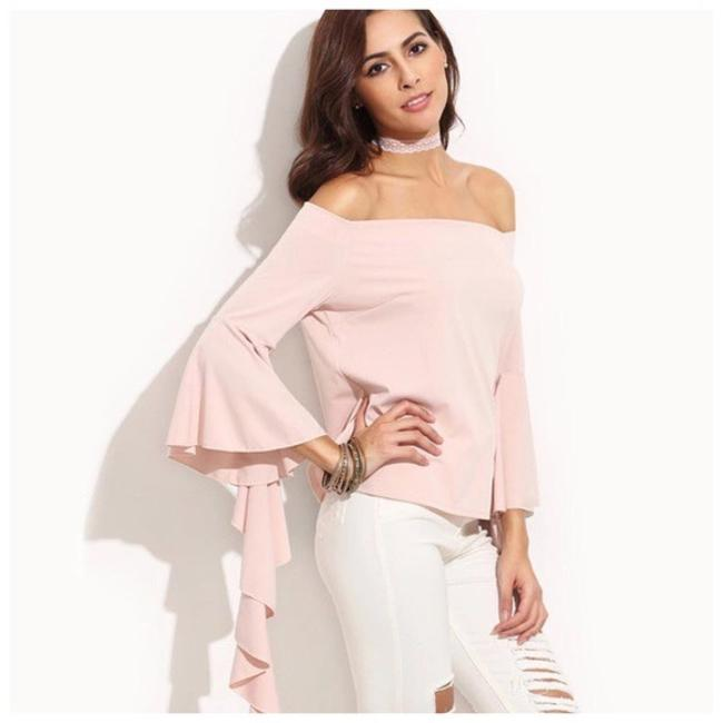 Other Asymmetrical Ruffle Top Blush Pink