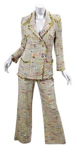 Chanel BOUTIQUE Womens Yellow Tweed Blazer Jacket Flare Pant Suit Outfit