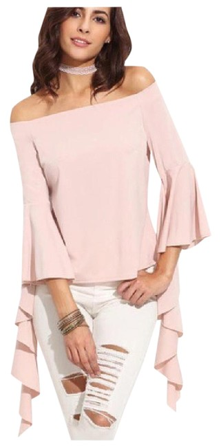 Other Asymmetrical Ruffle Sleeve Top Blush Pink