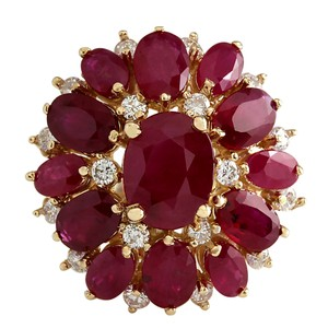 Fashion Strada 7.47 Carat Natural Ruby 14K Yellow Gold Diamond Ring