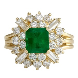 Fashion Strada 2.31CTW Natural Emerald And Diamond Ring 14K Solid Yellow Gold