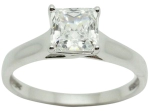 Elle Cross 1.59ct Diamond-Equivalent Princess Cut Platinum Plated Silver Ring