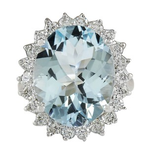 Fashion Strada 11.26CTW Natural Aquamarine And Diamond Ring In 14K Solid White Gold