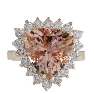 Fashion Strada 6.27 Carat Natural Morganite 14K Yellow Gold Diamond Ring